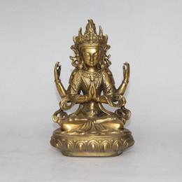 Wholesale Buddha Brass Statue - Bodhisattva Avalokiteshvara. Rare, old Tibetan bronze statue (Buddha Tibet)