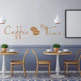 Wholesale Self Adhesive Wall Time - High Quality Carved Wall Stickers Decals for Coffee Shop and Kitchen Decoration PVC Coffee Time Letter Wall Stickers Removable