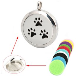 Wholesale Dog Magnets Wholesale - 10pcs 30mm plain magnet dog palm Aromatherapy Essential Oil surgical Stainless Steel Perfume Diffuser Locket Necklace with chain
