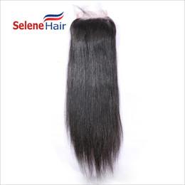 Wholesale Off Black Brazilian Hair - 60% OFF Silky Straight 7A Brazilian Virgin Human Hair Bleached Knots Full Lace Closure Hair 4x4 Natural Black Free Shipping