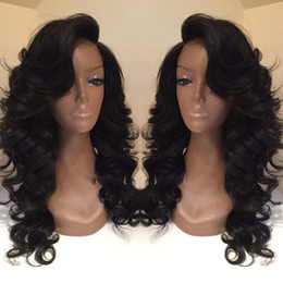 Wholesale Color 1b Wigs - Celebrity style Synthetic wigs loose body wave Hair Wig Natural black 1B color with side bangs pelucas black women full wigs