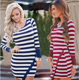 Wholesale Tunic Mini Dress Batwing Sleeves - Dresses Striped Irregular Dress Women Bodycon Cocktail Dress Casual Fashion Dress Long Sleeve Party Mini Tunic Midi Dresses Vestidos B3377