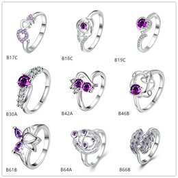Wholesale Gemstone Purple - Brand new mixed style fashion purple gemstone 925 silver ring EMGR25,Lotus planet sterling silver ring 10 pieces a lot