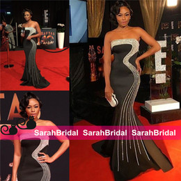 Wholesale Statement Celebrity - Sparkly Celebrity Beaded Prom Dresses Bonang Matheba South African TV Host Statement Pageant Evening Gowns for Women Miss Universe Wear Sale