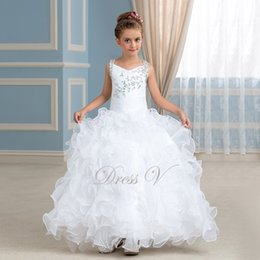 Wholesale Cheap Christmas Beads - 2017 Cheap Sweet White Floor Length Flower Girl Dresses Beaded Crystal Ruffles Organza V-Neck Long Pageant Party Dress Kids Communion Gown