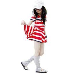 Wholesale Kids Summer Shorts Older - New 2016 Summer Children's Clothing Girl Baby Mini Fashion Big Brands Printed Striped Strapless Dress Kids Short Sleeve Dress 5-9 old BH2042