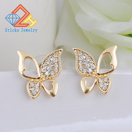 Wholesale Diamond Drop Earrings 14k - Ms. animal butterfly earrings new 100% eco-friendly materials   kc gold plated   white k 1pair   lot lot drop shipping