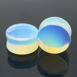 Wholesale Double Flared Gauges - 18pcs Wholesale Stone Ear Plugs Tunnels Organic Opal Moon Stone Double Flare Body Piercing Jewelry 5mm-20mm Gauges Mixed Sizes Free Shipping