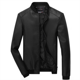 Wholesale Mens Real Leather Motorcycle Jacket - Wholesale- Hot 2016 New Brand Real Pu Leather Jacket Fashion Zipper Button Mens Motorcycle Jackets And Coats So Cool Slim Fit Plus Size 4XL