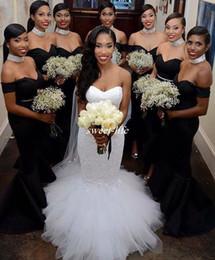 Черные пояса для свадебного платья онлайн-Черные платья подружки невесты 2019 с открытыми плечами Русалка атласная шапка с рукавами из бисера Пояс для свадебных гостей Формальные платья для подружки невесты дешево
