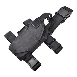 Wholesale Handgun Holster Thigh - Ship From US Universal Black Drop Leg Adjustable Left Handed Tactical Thigh Pistol Gun Handgun Holster Holder W  Magazine Pouch Cosplay