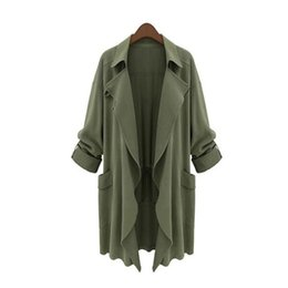 Wholesale Ladies Winter Trench Coats - 5XL Plus Size Women Trench Coat Winter Loose Casual Basic Windbreaker Irregular Solid Thin Harajuku Cardigan Coat Lady Fashion Outwear