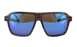 Wholesale Sky Sunglasses - SHINU Brand Layers Wood Frame Polarized Sunglasses With Leather Box for Men Designed in Switzerland Wood Sunglasses-SH73005(Ebony,Sky Blue))