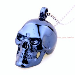 Wholesale Unique Beaded Necklaces - Skull Necklace Unique Blue 316L Stainless Steel Pendant Necklace For Man Women Fashion Stainless Steel Skeleton Necklace Men's Jewelry
