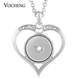Wholesale Clear Rhinestone Necklaces - NOOSA Heart Necklace Inlaid Clear Rhinestone Fit 18mm Snap Charm with Stainless Steel Chain VOCHENG NN-434