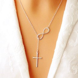Wholesale Ladies Cross Fashion Necklace - NEW Fashion Infinity Cross Pendant Necklaces Wedding Party Event 925 Silver Plated Chain Elegant Jewelry For Women Ladies free shipping