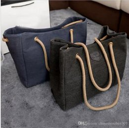 Wholesale Blue Contracting - Hot Sale Canvas Handbags Personality Contracted Large Bag Single Or Double Rope Shoulder Bags For Women