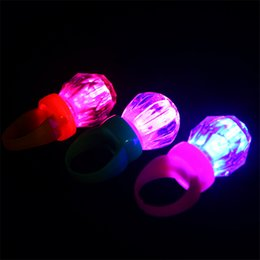 Wholesale Light Up Diamond Rings Wholesale - Wholesale- 50pcs lot Wedding Christmas Festival Party Light up Toys Small Plastic Flashing Diamond Ring LED finger lights Nightclub Gadget