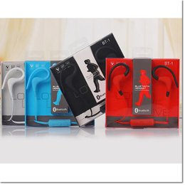 Wholesale Earphone For Apple Iphone - BT-1 Tour Earphone Bluetooth Sport Earhook Earbuds Stereo Over-Ear Wireless Neckband Headset Headphone with Mic WITH new PACKAGE dhl free