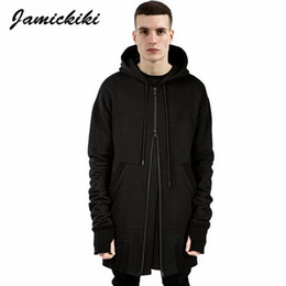 hoodie stile uomo assassino Sconti All'ingrosso-Jamickiki British Style Men's Plus Long Assassin Sleeve Side Zippers Felpe con cappuccio Uomo Hip Hop High Street Black Hooded Hoodies Uomo