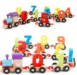 Wholesale Wooden Assembly Toys - riginal Muwanzi Children's Block Number Train Colorful Educational Puzzle Wooden Train Kids Assembly Puzzle Toys