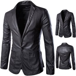 Wholesale Single Collar Mens Suit - 2016 New style fashion mens leather jacket brand leather blazers men slim fit suit jacket X22