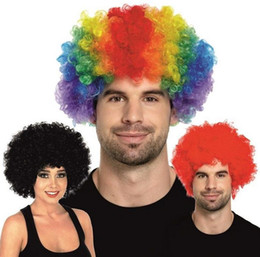 Wholesale Funny Adult Men Halloween Costumes - Men lady Clown Fans Carnival Wig Disco Circus Funny Fancy Dress Party Stag Do Fun Joker Adult Child Costume Afro Curly Hair Wig party props