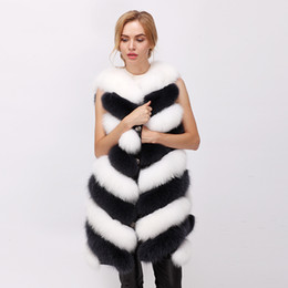 Wholesale vest fur real fox - free shipping 2017 winter new real fur vest fox fur vest natural arctic fox vest White fox 80cm