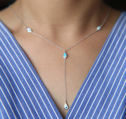 Wholesale sterling silver ocean - 2017 factory fine 925 sterling silver ocean blue enamel evil eye danity delicate thin chain sexy women lariat necklace