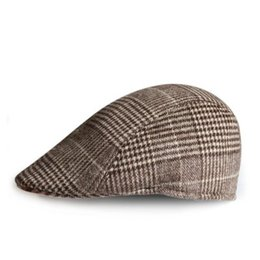 Wholesale Driver Caps Hats - Wholesale-Classic plaid Wool blend Felt Vintage Mens Beret Cap Cabbie Newsboy Flat Caps Gatsby Driver Beret Hat