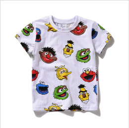 Wholesale Boys Size Dress - 2016 New Sesame Street Kids Children Tee Shirt Elmo T-shirt Red Cartoon Print Short Sleeve Dress Boys Girls Baby Cotton Summer Shirt 6 sizes