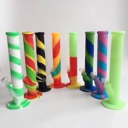 Wholesale free silicone - Free shipping 14.2inches silicone water pipes eight colors for choice silicone water pipe water pipes glass bongs glass pipes