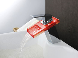 Wholesale Color Changing Cold Water - copper LED waterfall faucet with light cold hot water temperature control color change glass basin faucet