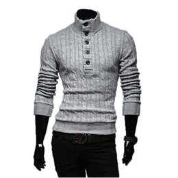 Wholesale Long Sweater Coat High Collar - Wholesale- Mens Sweaters 2017 New Men Fashion Winter Coat Long-Sleeved Sweater Male Jacket Casual Sweater High Collar Men Sweater Size XXL