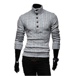 Wholesale Mens Wool Collar Jacket - Wholesale- Mens Sweaters 2017 New Men Fashion Winter Coat Long-Sleeved Sweater Male Jacket Casual Sweater High Collar Men Sweater Size XXL