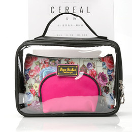 Wholesale Top Beauty Cases - Wholesale- Women Transparent Cosmetic Bags Clear Makeup Case 3pcs Set Floral Top Handled Zipper Waterproof Travel Organizer Beauty Case