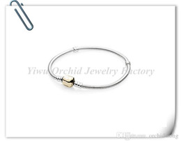 Wholesale Gold Horseshoe Charms - 925 Silver Plated Bracelet Snake Chain 20CM With Barrel Clasp Fit European Beads For Pandora Bracelets With Logo DIY