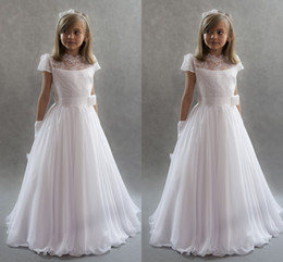 Wholesale Girl Princess Dress For Wedding - White Princess Flower Girls Dresses For Weddings 2017 High Neck Cap Sleeves Lace Chiffon Floor Length First Communion Dresses Kids Party Dre
