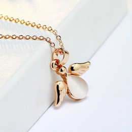 Wholesale Opal Pendant Rose Gold Chain - New Fashion Jewelry 18K Rose Gold Plated Cute Opal Wings Pendant Chain Necklace for Women Girls