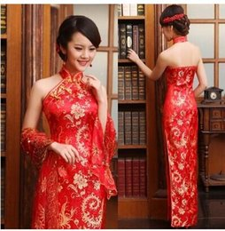 Wholesale Silk Halter Sheath Wedding Dress - 2014 Fashion embroidery side split halter backless red cheongsam floor length party prom evening dress wedding dresses with free Shawl