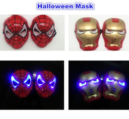 Wholesale Helmets For Halloween - 016 Promotion Sale Darth Vader Helmet Halloween Mask cosplay Glowing Spiderman  Spider-man Mask Transformers Eyes Make Up Toy for Kids Boys