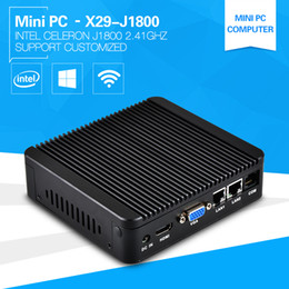 Wholesale Dual Celeron - Wholesale-XCY Newest Mini PC Computer Celeron J1800 2.41GHz Dual Lan Industrial Thin Client Fanless Design Micro Windows7 OS 2*Lan