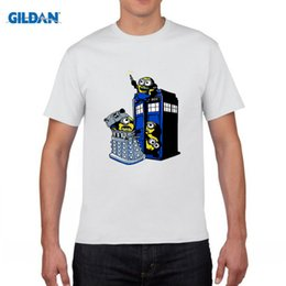 Wholesale Despicable Clothing - Fashion Newest Doctor Who T-shirt Men's Funny Despicable Me Minions In The Police Box Printing Tee Tops Camisetas Clothing