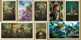 Wholesale Antique Wall Murals - Multi-style Vintage Movie Poster Bar Cafe Home Decoration Detailed Antique Poster Wall Chart Retro Matte Kraft Paper Alice in Wonderland