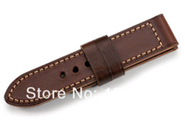 Wholesale 26mm Panerai - Free Shipping 1psc lot Vintage Brown Sports Watch Bands 26mm Wide Leather Watch Strap For Panerai Pre-V Buckle