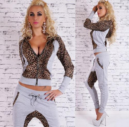 Wholesale Harem Leopard - New products 2015 women track suits autumn Leopard stitching harem pants and hooded zip cardigan 2 pieces gray, black, women's casual sports