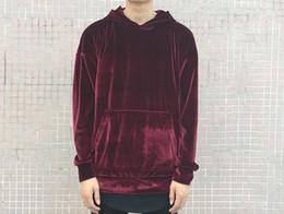 Wholesale Tyga Hoodies - Velour hoodie drop shoulder velvet men hip hop brand streetwear skteboard yeezus kanye west tyga hype oversized hba swag