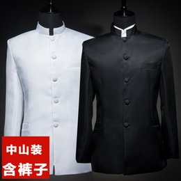 Wholesale Chinese Tunics Costume - Wholesale-XXS-XXXL! 2016 New men's clothing Male stand collar chinese tunic suit photo service set formal dress costume SInger costumes