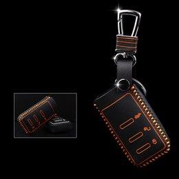Chave chave subaru on-line-Quatro Clour Genuine Leather Case de Controle Remoto Tampa Do Saco Da Carteira Chave Do Carro Para Subaru Legado / outback / Forester