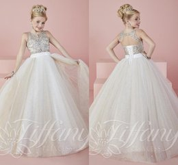 Wholesale Girls Bling Dresses - 2016 New Bling Girls Pageant Dresses Tulle Jewel Neck Crystal Beaded Sequins Long Princess Size 13 Party Children Birthday Kids Girl Gowns